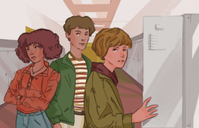Illustration of students in high school setting