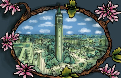 Illustration of Berkeley campus surrounded by plants