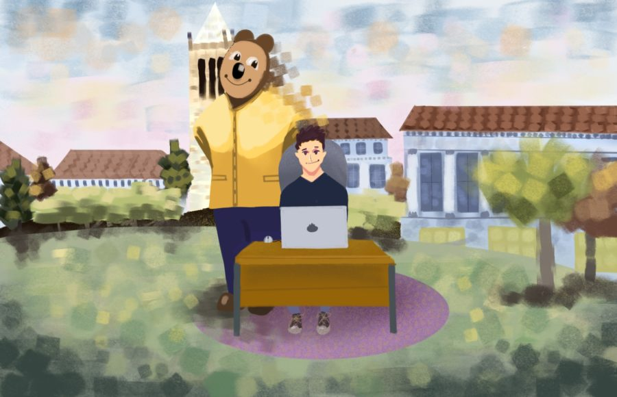 Illustration of student virtually visiting UC Berkeley for Cal Day
