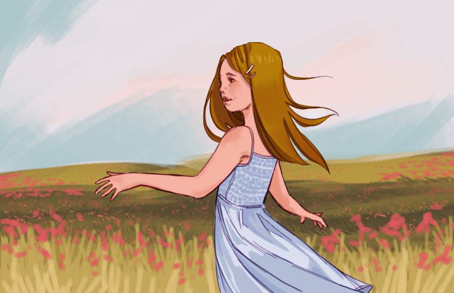 Illustration of girl in flower fields