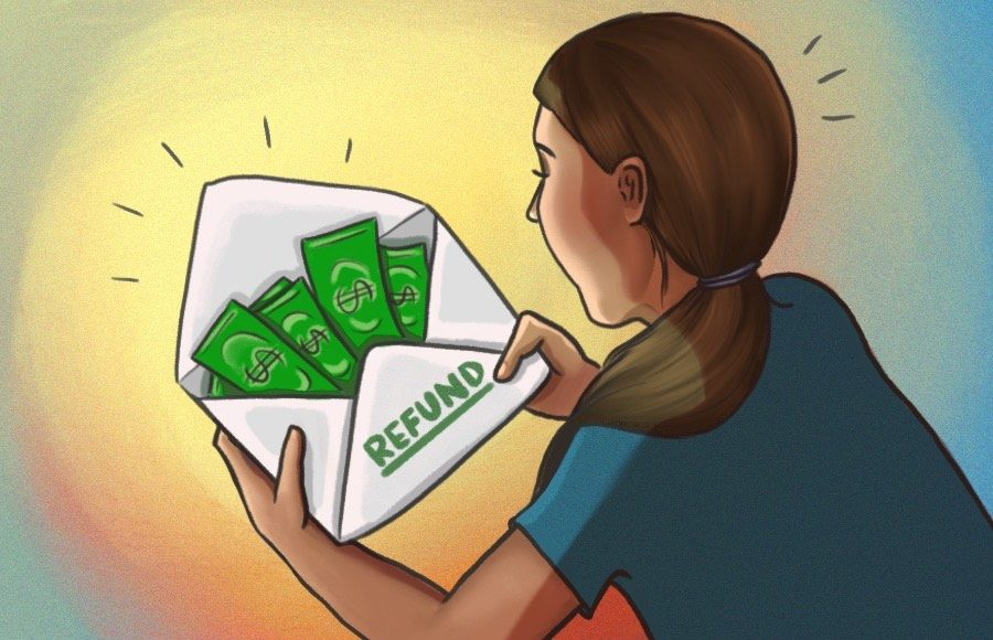"""Illustration of a woman opening an envelope labeled """"refund"""""""