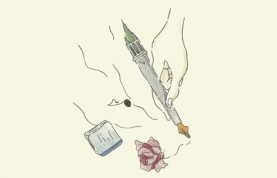 Illustration of a campanile-shaped pen making lines, next to a rose and a book.