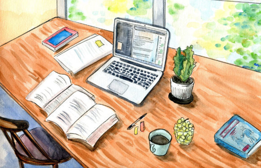 Illustration of desk with laptop