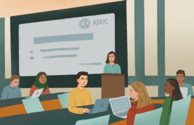 Illustration of ASUC meeting