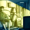 Illustration of a person peacefully sitting on a couch, eating popcorn and watching a television show