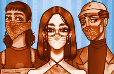 Illustration of 3 people wearing masks -- a bandanna, a plain mask, and a patterned mask