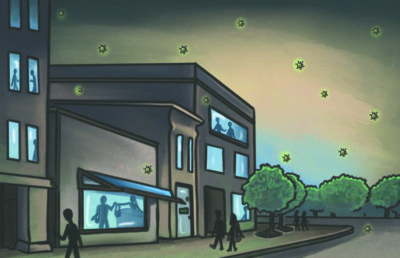 Illustration of a street with people seen through the windows of buildings and COVID-19 viruses outside