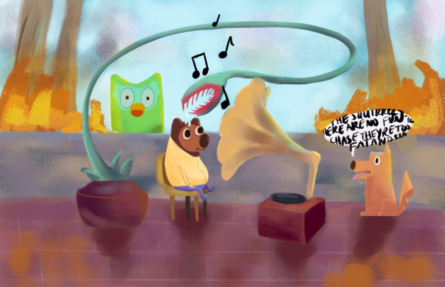 Illustration of Oski from UC Berkeley sitting and listening to music as a Venus flytrap and the Duolingo owl loom, while a dog speaks to him