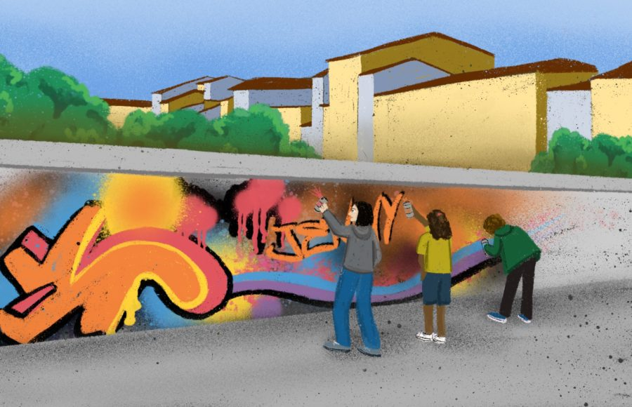 Illustration of three people painting graffiti onto a wall