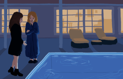 "Illustration of the main characters of ""Dead to Me"" standing next to a pool"