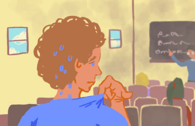 Illustration of uncomfortable person in a stuffy lecture hall
