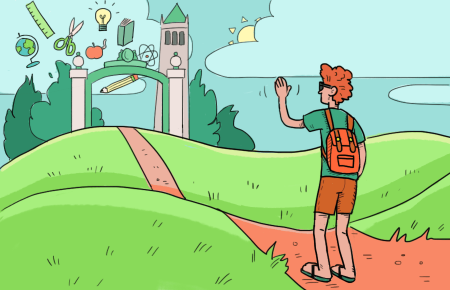 Illustration of student waving towards UC Berkeley's Sather Gate