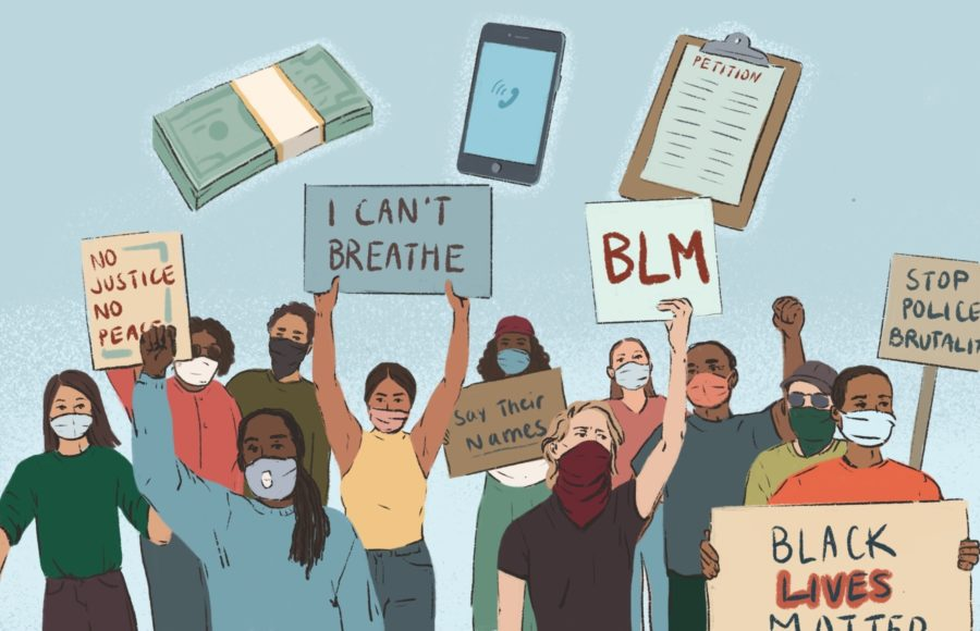 Illustration of Black Lives Matter protesters wearing face masks holding up signs.