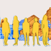 Illustration of 5 women silhouetted against the UC Berkeley and Stanford campuses