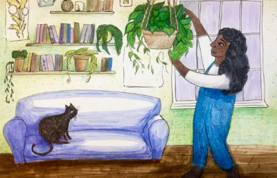 Illustration of a girl hanging a plant in her room