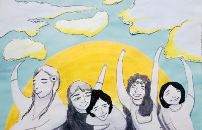 Illustration of a group of people dancing in the sun