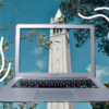 Photo illustration of UC Berkeley's Campanile seen through a laptop screen