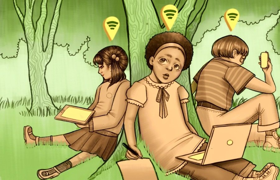 Illustration of children in a park, using electronic devices, with wifi hotspots around them labeled