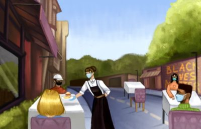 Illustration of a group of people in open-air dining, wearing masks