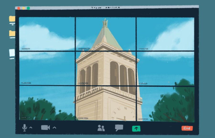 Illustration of UC Berkeley's Campanile, as seen through a Zoom window