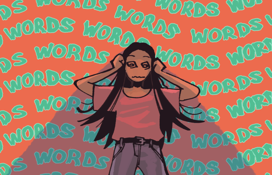 Illustration of a person looking confused against a backdrop of repeating words