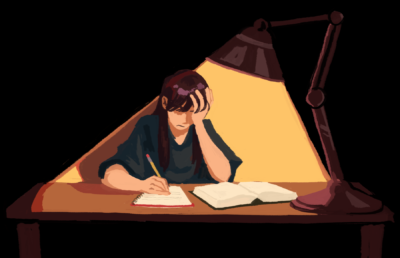 Illustration of a frustrated person sitting at a table, struggling to read and write.