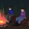 Illustration of two people wearing masks and seated around a campfire