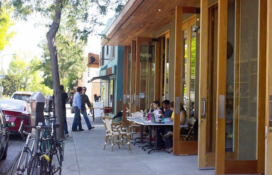 Customers sit outside in Berkeley's Gourmet Ghetto.