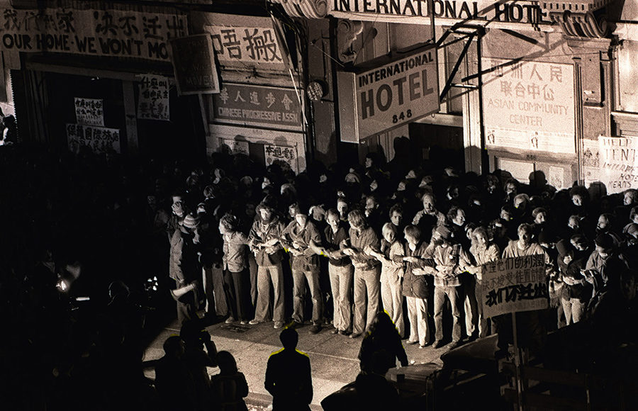 Photo of protests at the International Hotel