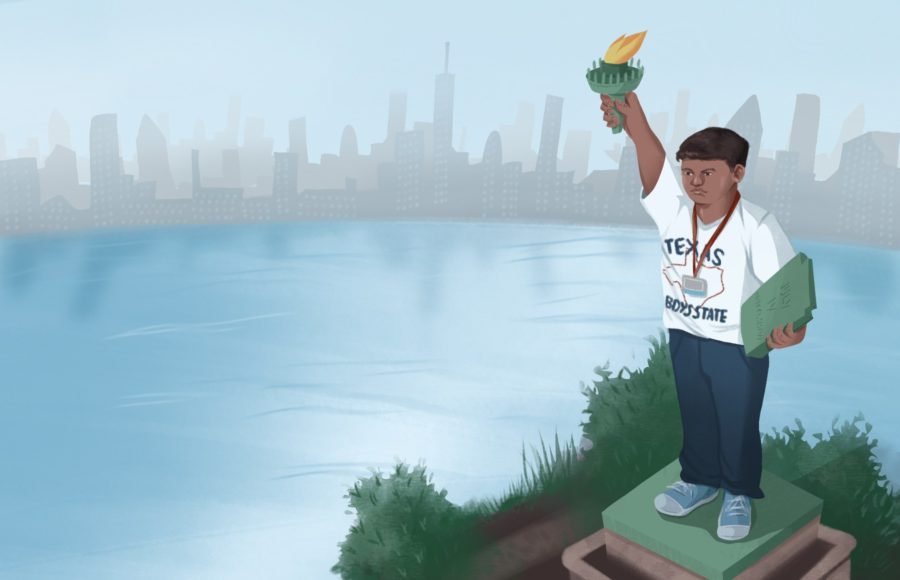 """Illustration of a student from the documentary """"Boys State"""" posed like the Statue of Liberty"""