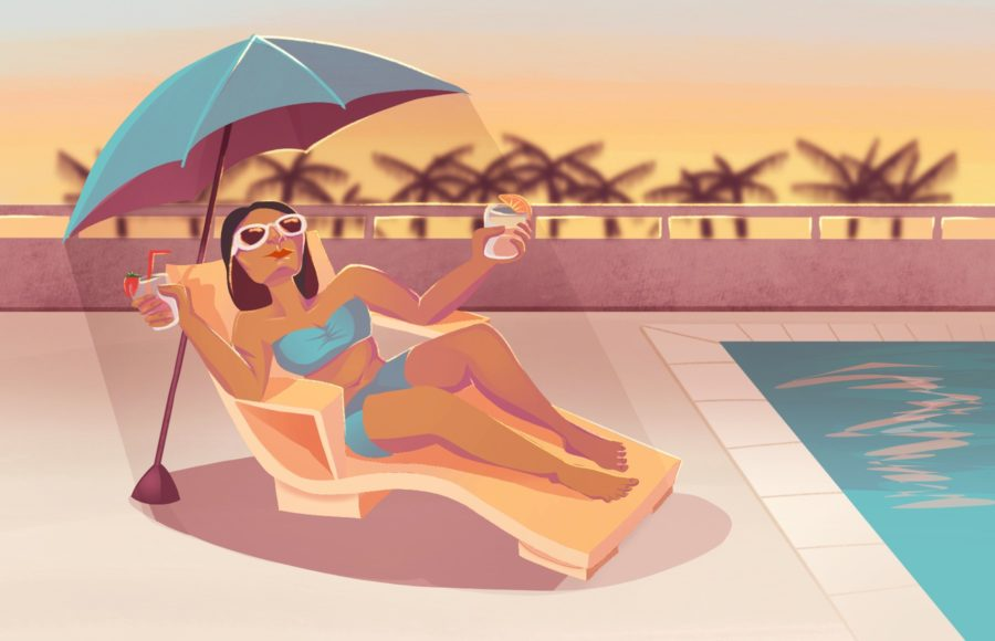 Illustration of a woman reclining on a deck chair with two mocktails in hand