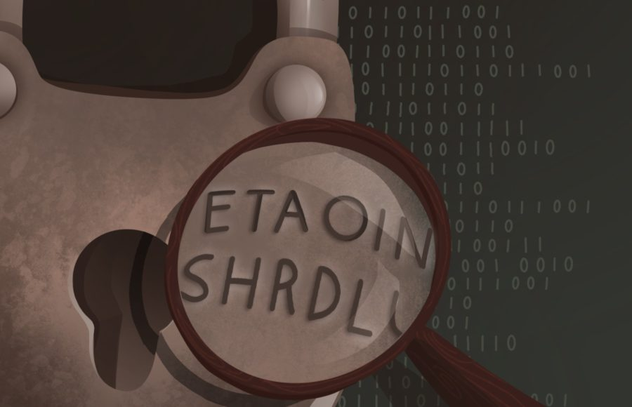 "Illustration of a magnifying glass hovering over a key lock, magnifying the letters ""ETAOIN SHRDLU"" with cryptographic codes in the background."