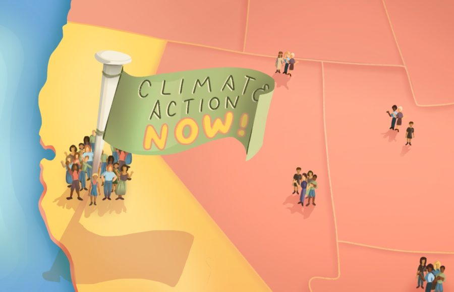 "Illustration of Californians surrounding a flag reading ""Climate Action Now"""