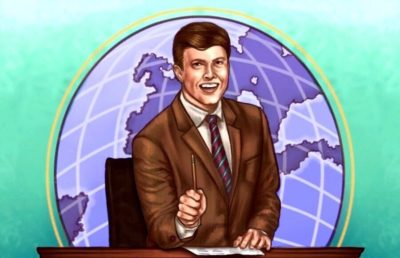 Illustration of comedian Colin Jost smiling and sitting behind a desk