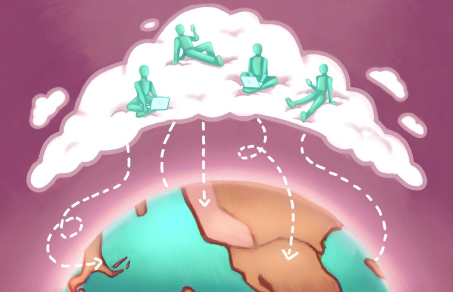 """Illustration of international students hanging out in a """"cloud"""" that's connecting their countries."""