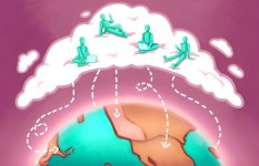 "Illustration of international students hanging out in a ""cloud"" that's connecting their countries."