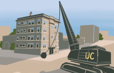 "Illustration of a wrecking ball labeled ""UC"" destroying 1921 Walnut St. in Berkeley, CA"
