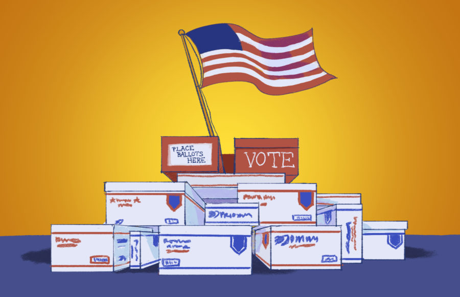 Illustration of the American flag sticking out of a stack of USPS delivery boxes, topped by ballot boxes.