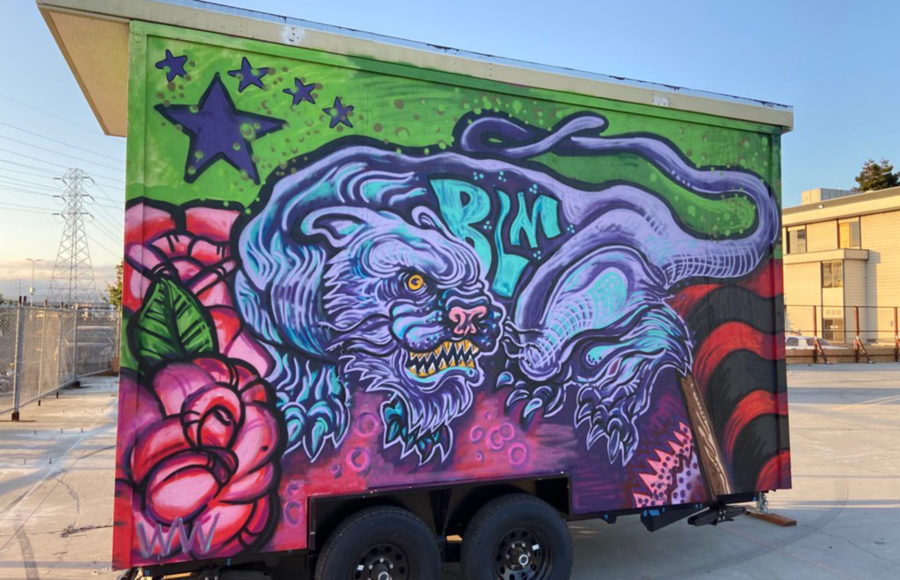 Photo of trailer with artwork by spirit youth.