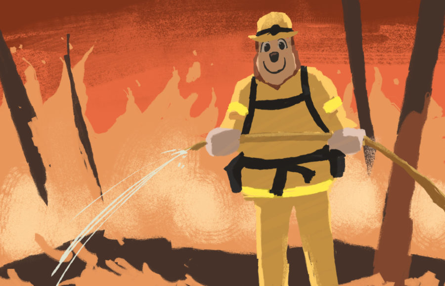 Illustration of Oski Bear in firefighter gear, putting out a fire with a hose.