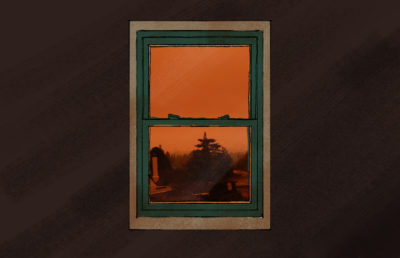 Photo illustration of the view of an orange sky out of a window