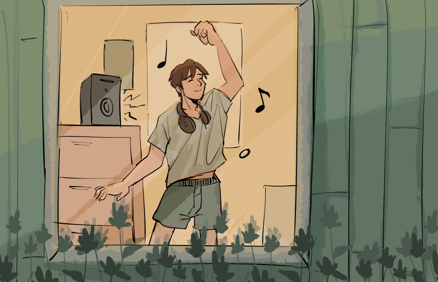 Illustration of a person in their room, jamming to music coming from a speaker.