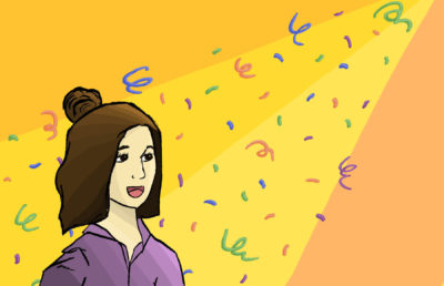 Illustration of a girl in a purple hoodie standing underneath a spotlight with confetti in the air.