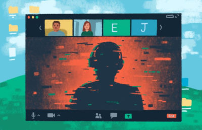 Illustration of a person's dark silhouette infiltrating a zoom call, surrounded by glitchy textures.