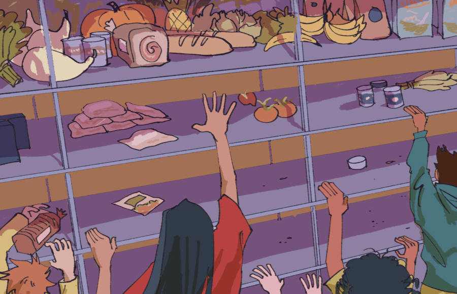Illustration of people all trying to reach a high shelf storing food just barely out of reach.
