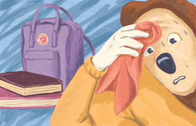 Illustration of Oski sweating nervously next to a backpack and a pile of textbooks