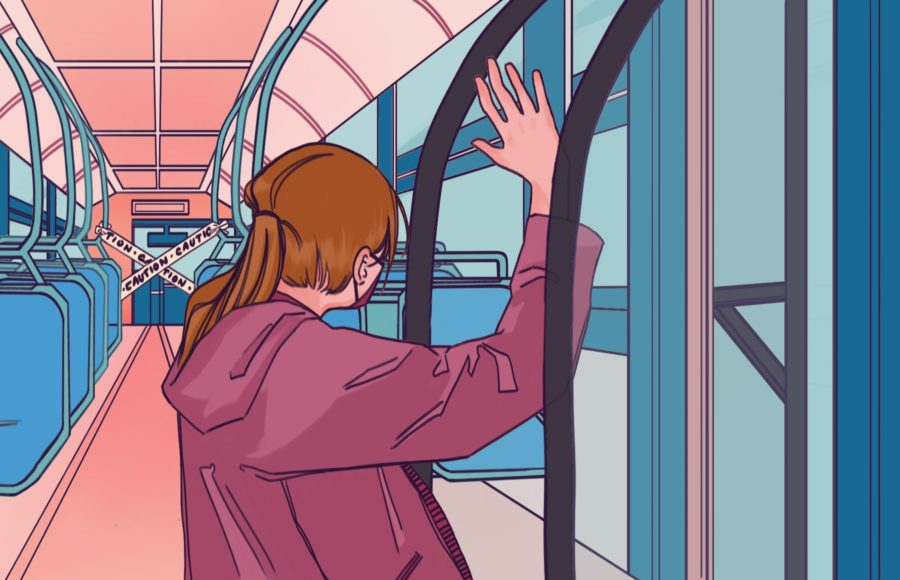 Illustration of one girl on an AC transit bus as the only passenger, with caution tape blocking off the driver's seat.