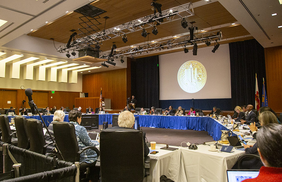 Photo of UC regents meeting