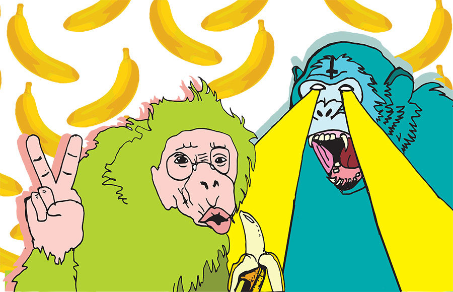 Illustration of two stylised primates, one blue and green, in front of a background of patterned bananas.