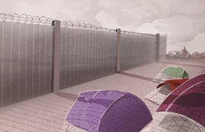 Illustration of tents overshadowed by the barbed wire fence of a prison